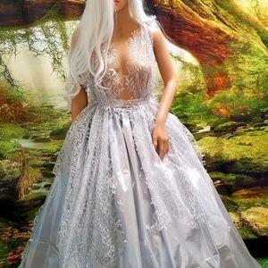 Sebrina Love / Sebrina Love Bridals Dresses - RAJATA Silver & Lace Lame' Wedding Ballgown Set